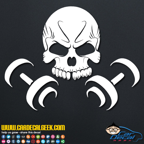 Skull Dumbbells Decal Sticker