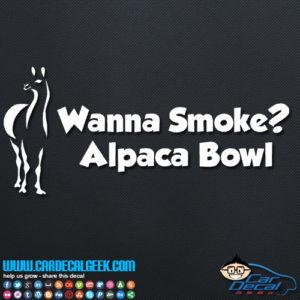Wanna Smoke Alpaca Bowl Decal Sticker