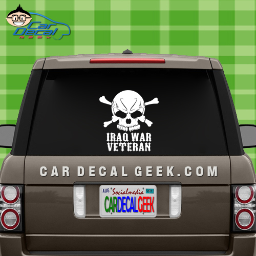 Iraq War Veteran Skull Car Window Decal Sticker