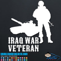 Iraq War Veteran Soldier & Tank Decal Sticker