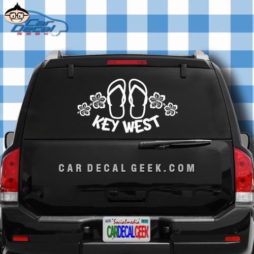 Key West Flip Flop Sandals & Hibiscus Flowers Car Window Decal Sticker