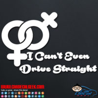 Lesbian I Can't Even Drive Straight Decal Sticker