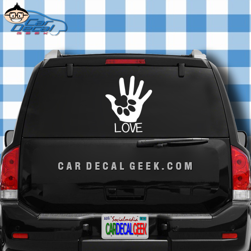 Dog Paw Love Car Sticker