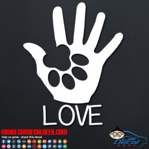 Dog Paw Love Car Window Decal