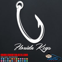 Florida Keys Fishing Hook Decal