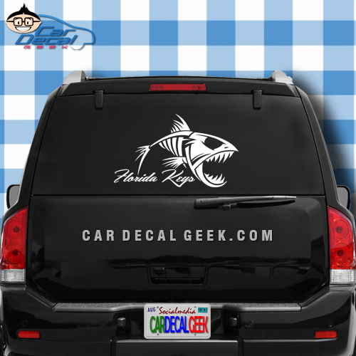 Florida Keys FIsh Skeleton Car Window Decal Sticker