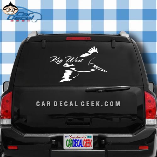 Key West Pelican Car Window Decal Sticker