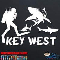 Key West Scuba Diver & Sharks Decal Sticker