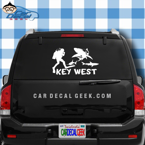 Key West Scuba Diver & Sharks Car Window Decal Sticker