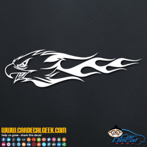 Flaming Eagle Head Decal