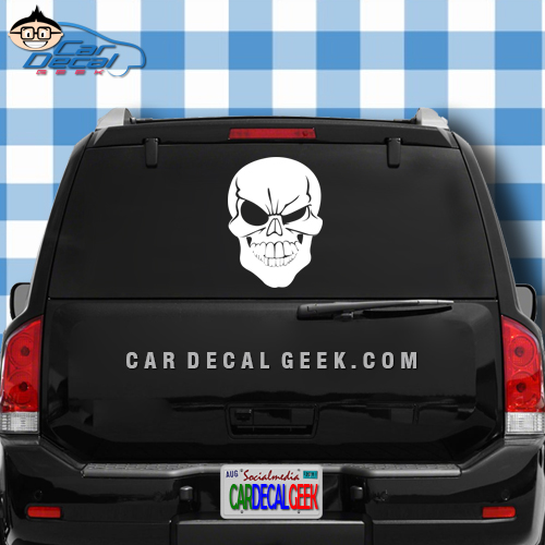 Awesome Winking Skull Car Window Decal Sticker - Window decal sticker