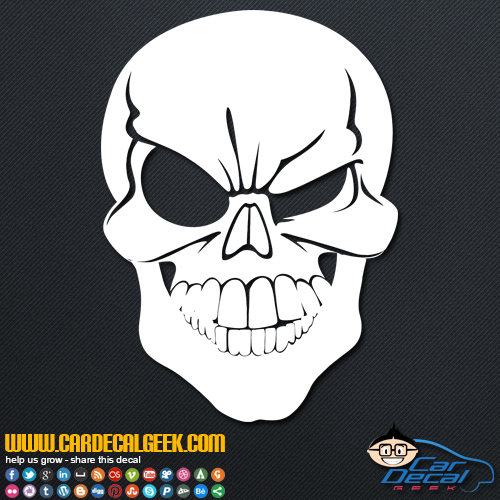 Winking skull decal sticker winking skull car