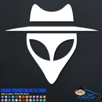 Alien Face with Hat Decal Sticker