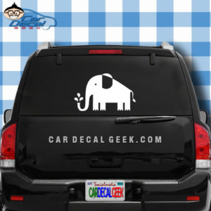 Cute Elephant Squirting Trunk Car Window Decal