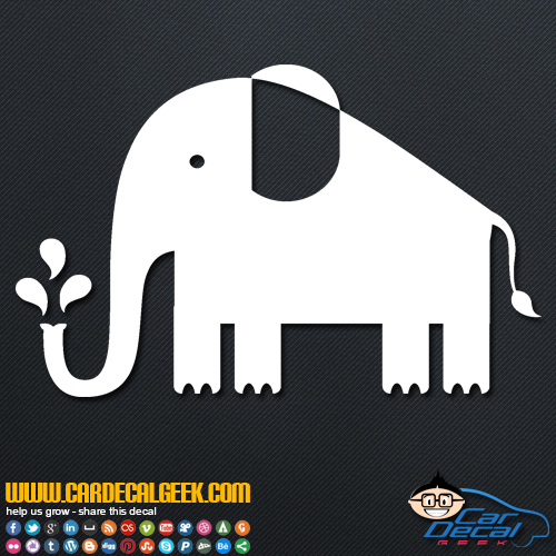 Cute Elephant Squirting Trunk Decal