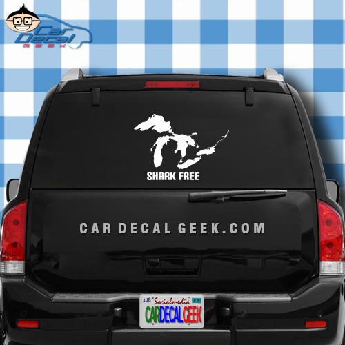 Great lakes shark free car truck decal sticker