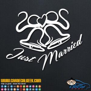 Just Married Wedding Bells Decal Sticker