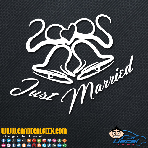 Just Married Wedding Bells Decal Sticker
