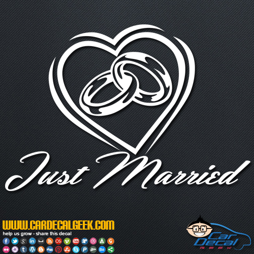 Just Married Wedding Rings Heart Decal