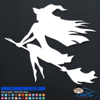 Witch on Broom Decal Sticker