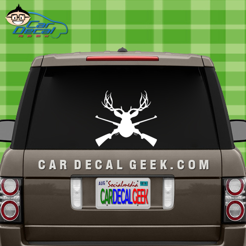 Mounted Deer Head with Hunting Rifles Decal Sticker