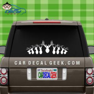 Mounted Deer Heads Car Window Decal Sticker