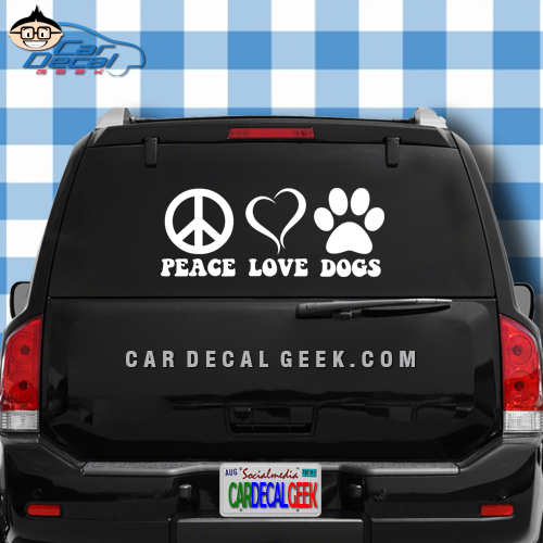 Peace Love Dogs Paw Print Car Window Decal Sticker