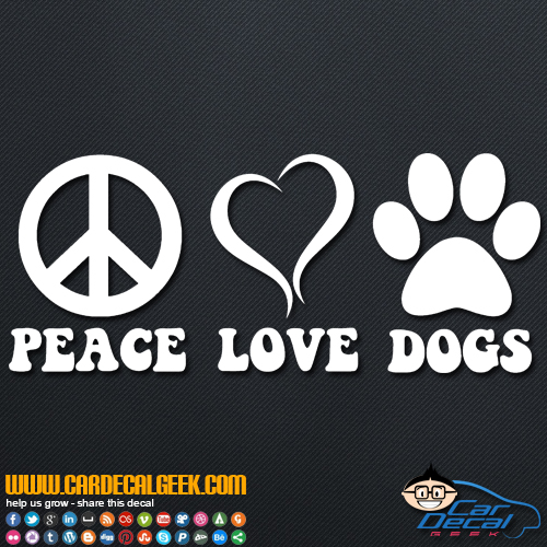 Peace love dogs paw print decal sticker