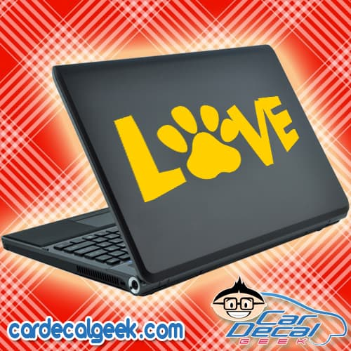 Love Dog Cat Pet Paw Laptop Decal Sticker