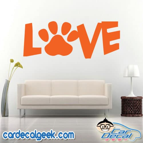 Love Dog Cat Pet Paw Wall Decal Sticker