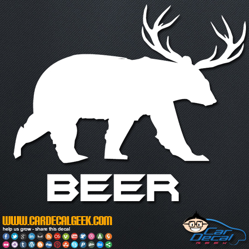 Beer Bear Deer Decal Sticker