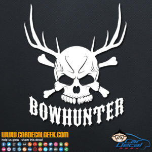 Bowhunter Hunting Skull Decal Sticker