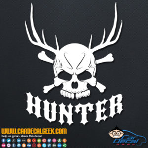 Hunter Skull Antlers Decal Sticker