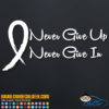Never Give Up Never Give In Cancer Awareness Decal Sticker