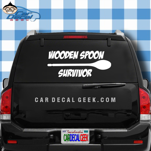 Wooden Spoon Survivor Car Window Decal Sticker