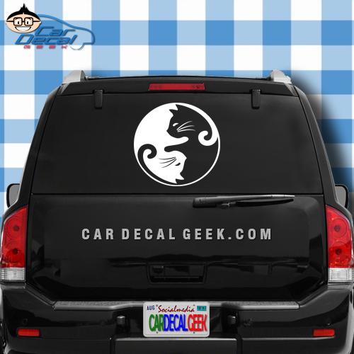 Cat Yin Yang Car Window Decal Sticker