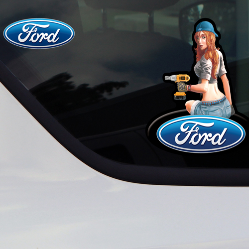 Ford Hot Girl Mechanic Car Truck Window Decals Stickers