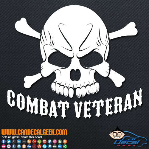 Combat Veteran Skull Decal Sticker ...