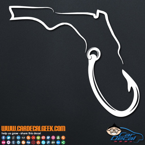 Florida Fishing Hook Vinyl Car Decal Sticker Graphic