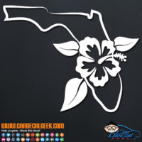 Florida Tropical Hibiscus Flower Decal Sticker