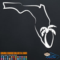 Florida State Outline Palm Tree Decal Sticker