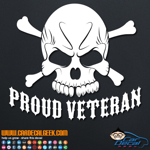 Proud Veteran Skull Decal Sticker
