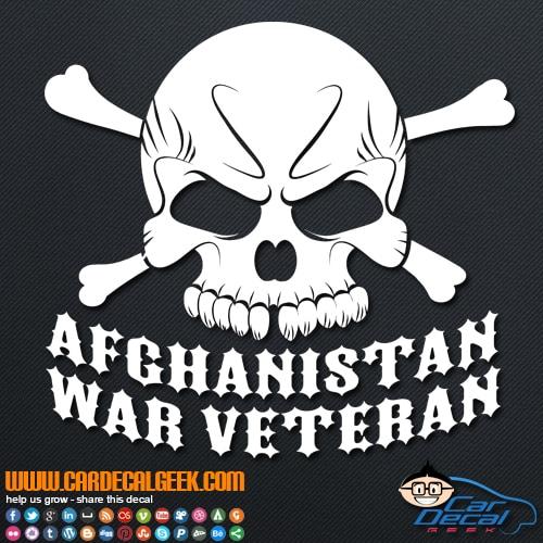 Afghanistan Veteran Skull Vinyl Car Decal Sticker