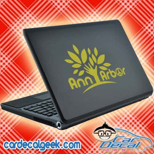 Ann Arbor Peace Tree Laptop Decal Sticker
