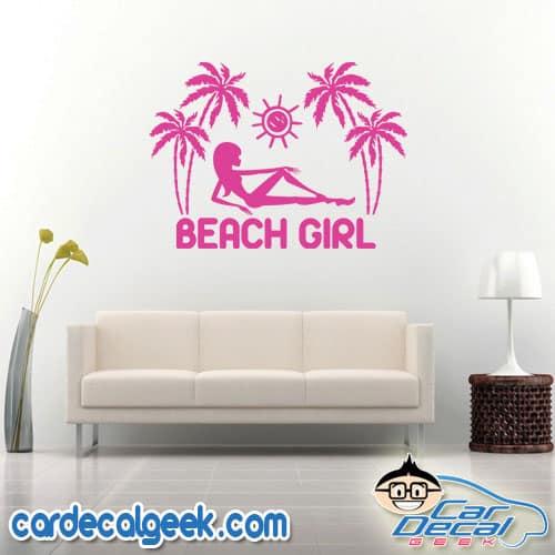Tropical Beach Girl Wall Decal Sticker