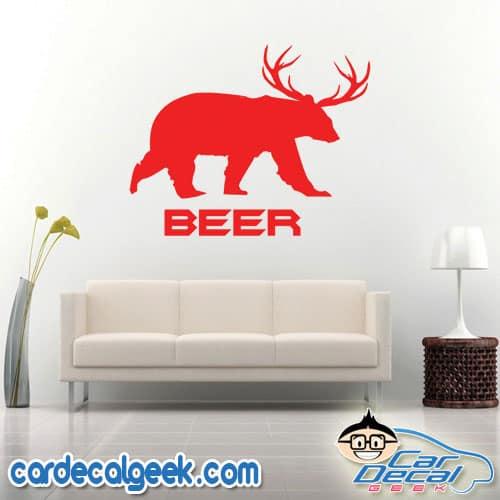 Beer Bear Deer Wall Decal Sticker