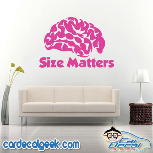 Brain size matters wall decal sticker