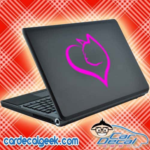 Cat Heart Laptop Decal Sticker