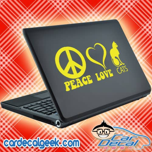 Peace, Love & Cats Laptop Decal Sticker