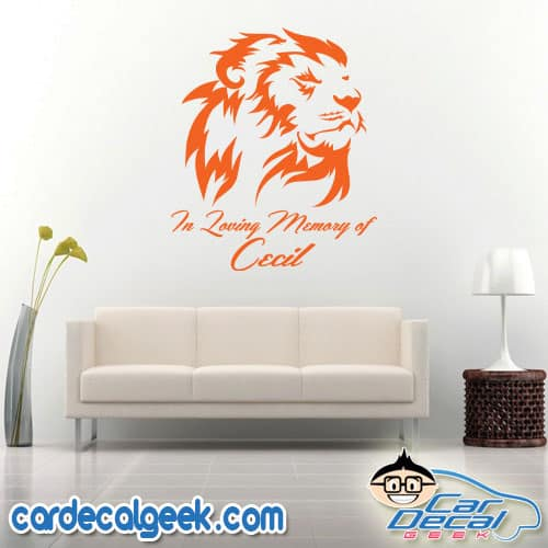 Cecil the Lion Memorial Wall Decal Sticker